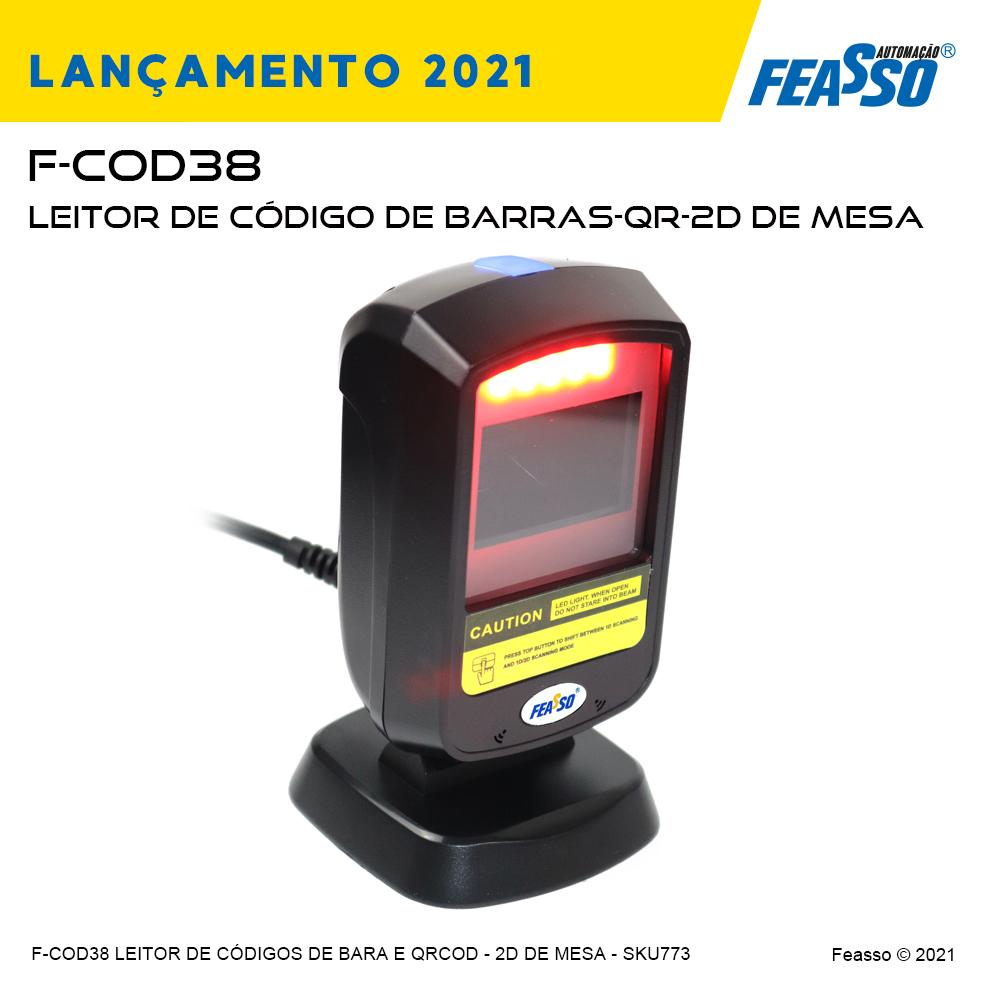 F-COD38 - LEITOR DE CÓDIGO DE BARRAS-QR Code - 1D e2D de MESA