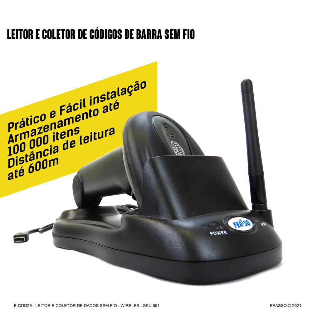 F-COD29 - Leitor e Coletor de Código de Barras Sem Fio - Profissional