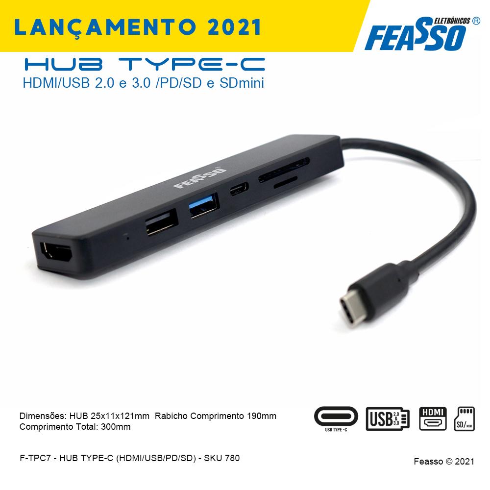 F-TPC7 HUB TYPE-C HDMI/USB 2.0 e 3.0 PD/SD e SDmini