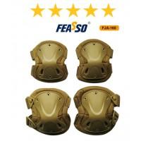 Kit proteção fja-160 joelheira cotoveleira areia*