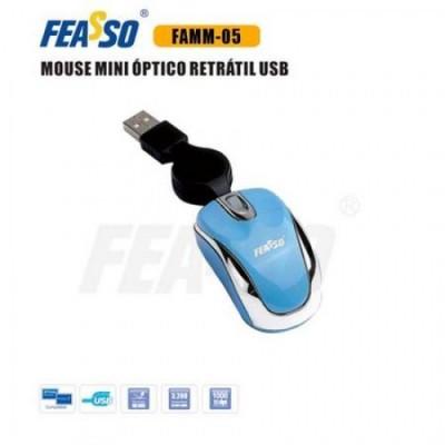 Mouse Mini Retrátil Famm-05 Usb Azul