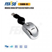 mouse mini retrátil famm-05 usb prata