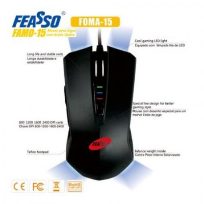 Mouse famo-15 usb p/ games 2400dpi - preto