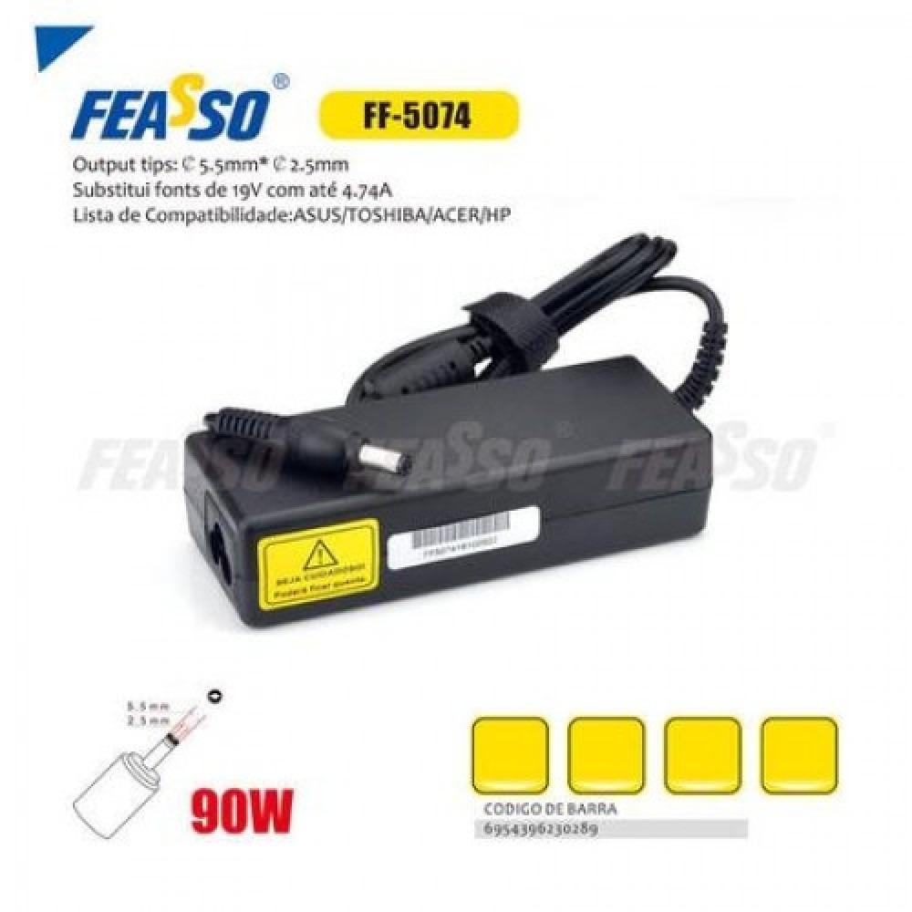 609 - FONTE FF-5074 P/ NOTEBOOK 90W 19V 4.74A PLUG5,5X2,5