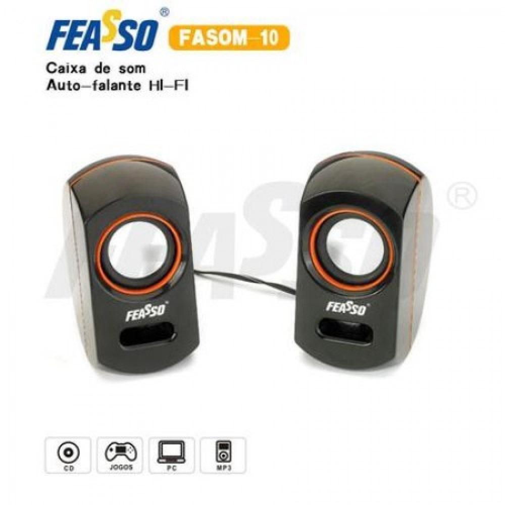 FASOM-10 Cx De Som HI-FI 2.0 Detalhe Laranja