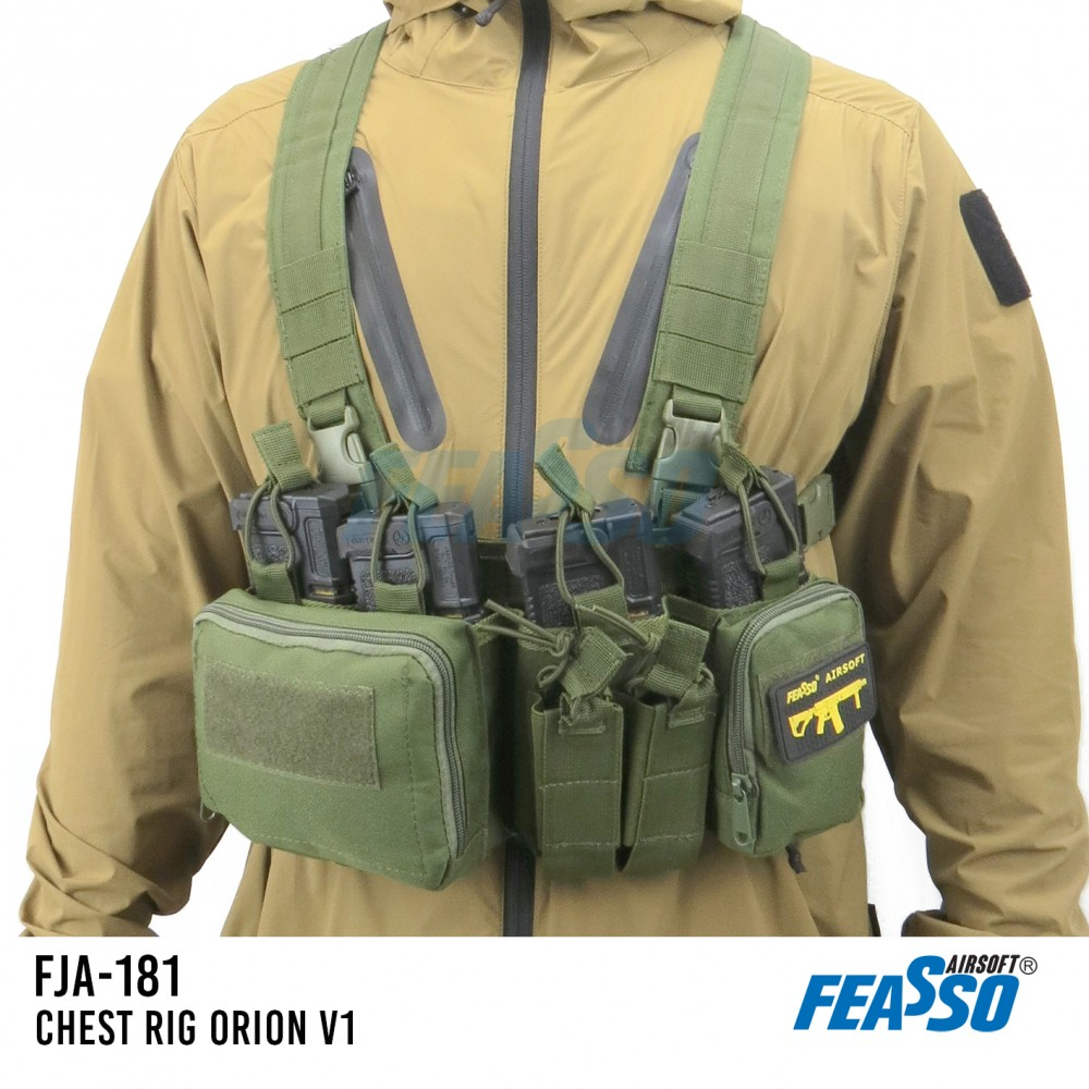 694 - CHEST RIG ORION-V1 FJA-181 AIRSOFT COR VERDE*