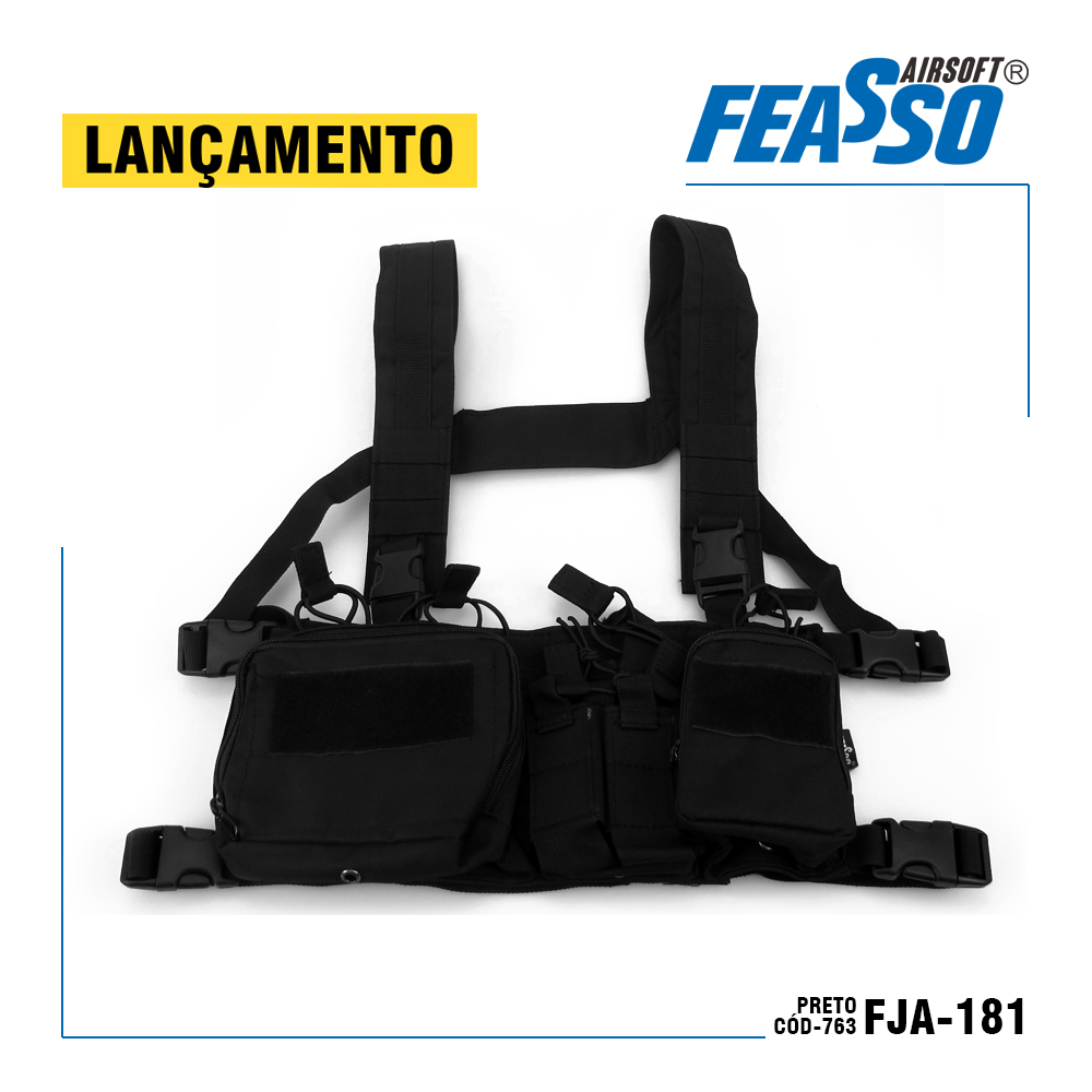 763 - CHEST RIG ORION-V1 FJA-181 AIRSOFT COR PRETO*