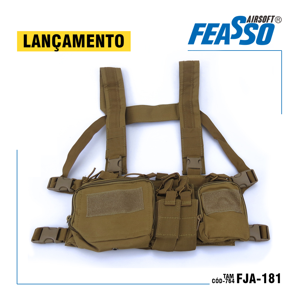 764 - CHEST RIG ORION-V1 FJA-181 AIRSOFT COR AREIA*