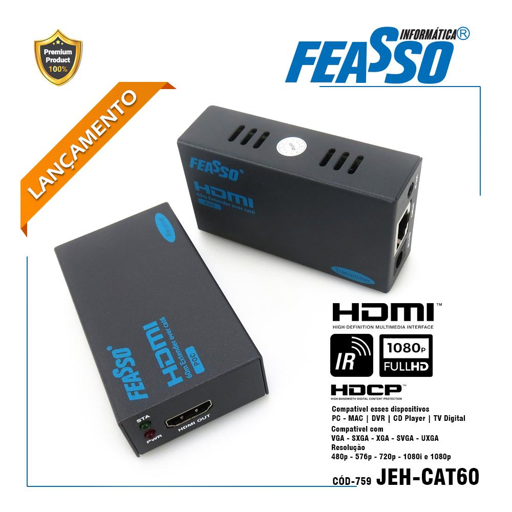 JEH-CAT60 - Extensor de sinal CAT60 HDM com IR - até 60m via cabo RJ45