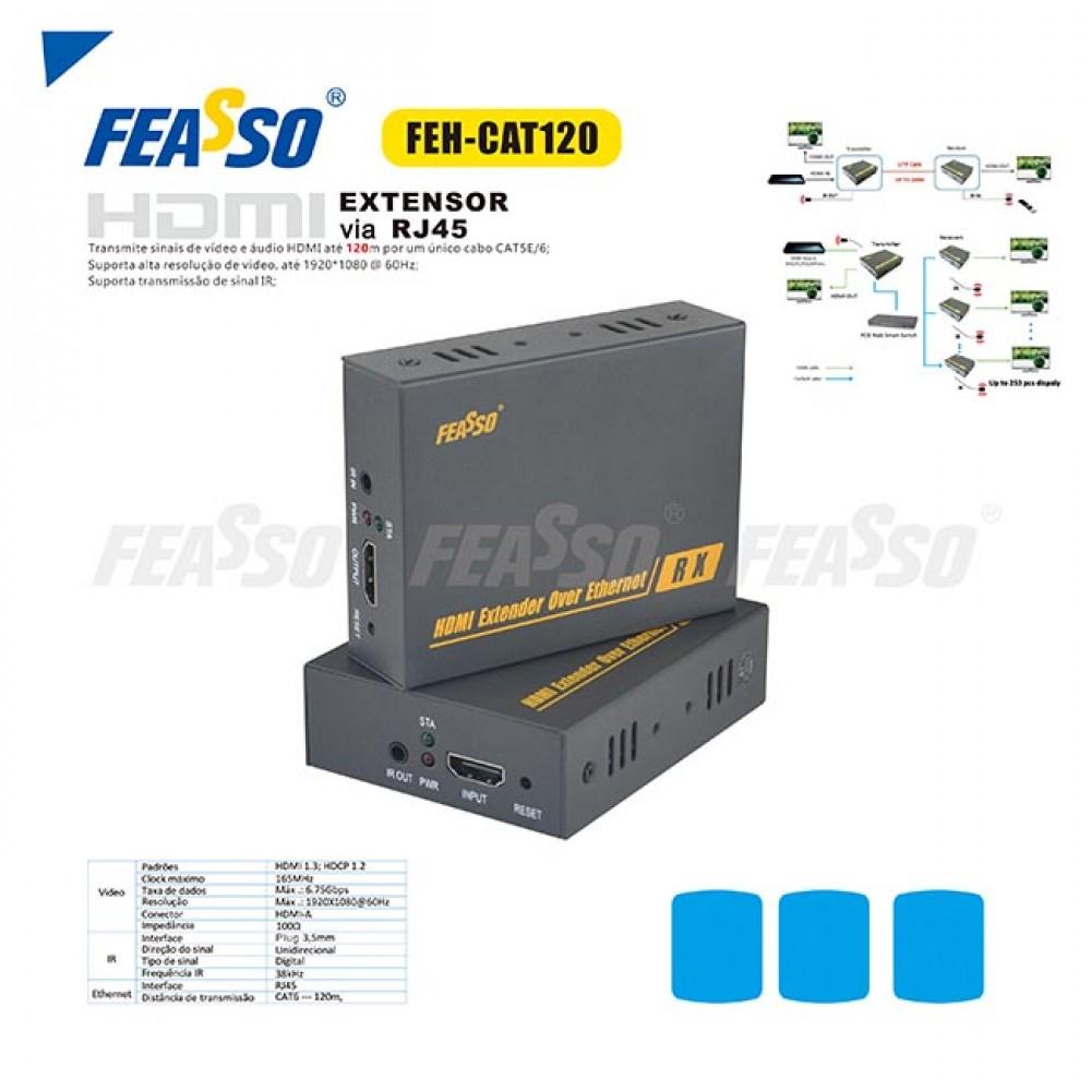 624 - EXTENSOR DE SINAL FEH-CAT120 HDMI ATE 120M VIA RJ45