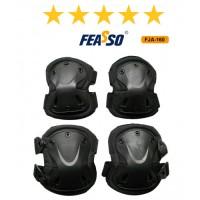 Kit proteção fja-160 joelheira cotoveleira preto*