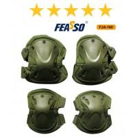 Kit proteção fja-160 joelheira cotoveleira verde*