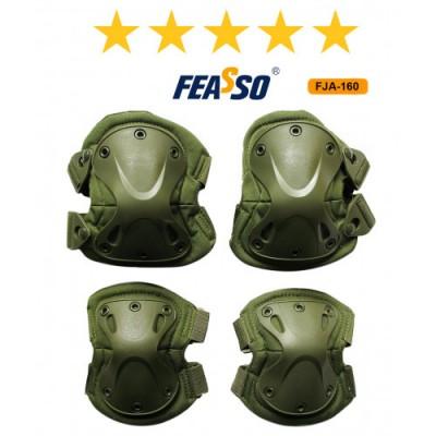Kit proteção fja-160 joelheira cotoveleira verde